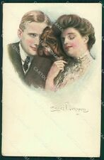 Clarence Underwood Lady and Dog MM Vienne 388 postcard cartolina QT6842