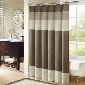 Home Essence Salem Pieced Faux Silk Shower Curtain Madison Park 54 x 78 Brown