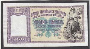 100 FRANGA VERY FINE CRISPY BANKNOTE FROM ITALIAN OCCUPIED ALBANIA 1940 PICK-8