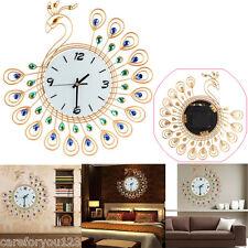 Luxury Diamond Peacock Large Wall Clocks Metal Living Room Wall Watch Home Decor