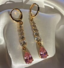 F Gold filled sim diamond pink sapphire dangle earrings 57x7mm Plum UK BOXED
