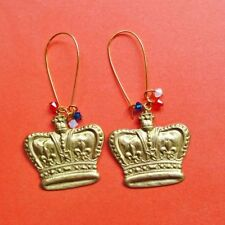Handmade Brass Crystal Costume Earrings