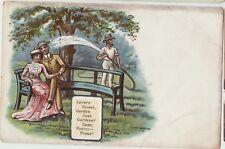 LOVERS Edwardian Couple in Garden HOSE Gardener Vintage Colour PC c1910