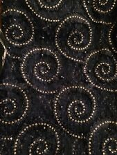 "Shiny Studded Polyester Mesh NET Fabric Material 58"" Width Navy/Gold"