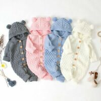 Newborn Baby Boy Girl Knit Romper Hooded Sweater Jumpsuit Winter Warm Clothes