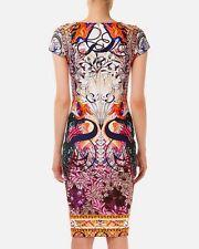 Mary Katrantzou Sirene Macu Matadi Swans Calligraphy Typography Scuba Dress L