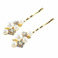 USA Bobby Pin Rhinestone Crystal Hair Clip Hairpin Wedding Bridal Pearl Gold 57