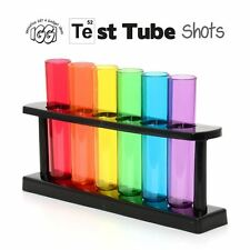 IGGI Neon Test Tube Shot Shooters Plastic Glasses with Stand - Set of 6
