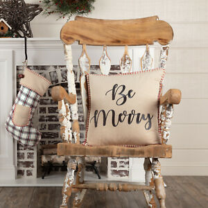 """VHC Brands Farmhouse 18""""x18"""" Be Merry Pillow White Christmas Amory Holiday Decor"""
