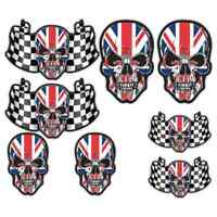 Union Jack Chequered Flag Skull Stickers Motorbike Car Motorcycle Helmet Biker