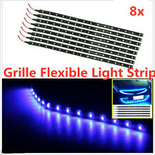 8PCS 15 LED 30cm 5050 SMD LED Strip Light Flexible 12V Car Decor Waterproof Blue