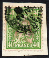 Switzerland 40 Cent Stamp c1862-64 Used on Piece (3181)