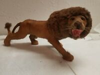 Vintage 1960's -1970s Taxidermy Miniature Lion made with Real Hair Fur Statue