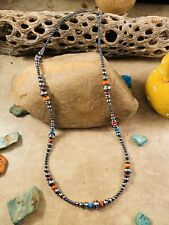 Sterling Silver Navajo Pearl, Spiny Oyster Turquoise Beaded Necklace