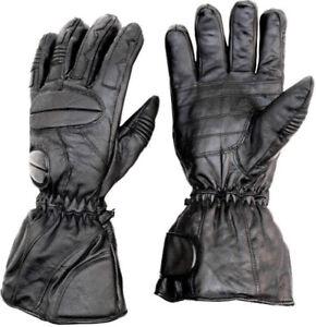 Adult Snowmobile Gloves Black LEATHER Warm Ski Cold Winter Glove Snow