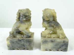 Vintage Pair of Chinese Soapstone Dogs of Foe Foo Loins Temple Guardians China