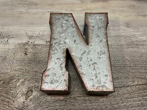 """Farmhouse Galvanized 3-D Letter """"N"""" 5X7 in Hobby Lobby"""