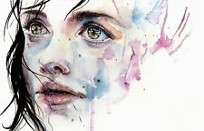 Unframed Canvas Art Print A4 Size High Quality Watercolor Crying Girl Home Decor