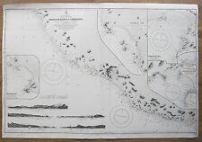 1886 MEXICO manglar Bluff a C. Corrientes vintage mapa del Almirantazgo Gráfico