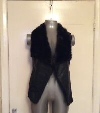 NEW LOOK, SIZE 10, EUR 38, BLACK, FAUX LEATHER FAUX FUR WAISTCOAT, PRE-LOVED