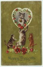 Cat Postcard~Happy Thoughts~Kittens Frolicking~Flowers~c1910