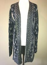 Lucky Brand Woman's Cardigan Sweater Blue Stitch Pattern Open Front Duster M