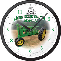 JOHN DEERE A 1936 Farm Agriculture Tractor Hanging Wall Picture Clock Clocks