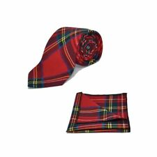 Tradicional Rojo Tartán Cuadros Corbata & Bolsillo Cuadrado Set-Tweed, Plaid, Stewart
