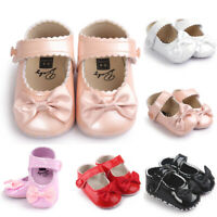 Baby Girls Bowknot Leater Shoes Sneaker Anti-slip Soft Sole Toddler Shoes