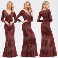 Ever-Pretty Sequin V-Neck Maxi Formal Evening Party Dress Wedding Prom Gown 0872
