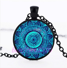 Blue Mandala  Photo Glass Pendant Black Necklace for man woman Jewelry