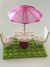*NEW* Lego Friends TRANS PINK UMBRELLA Patio Set WHITE Chair LIME GREEN Plate