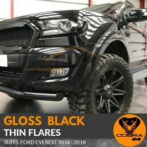 Gloss Black Thin Flares Fits Ford Everest 2016 2017 2018 Skinny Fenders OEM