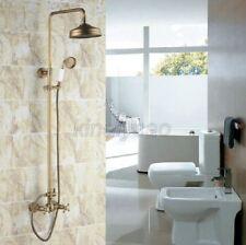 "Antique Brass Bathroom 8"" Rainfall Shower Faucet Set Dual Handle Mixer Tap"