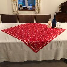 Christmas tablecloth overlay cotton fabric with satin ribbon trim Red Reindeer