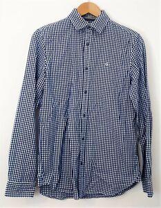 Calvin Klein Men's XS Long Sleeve Blue and White Checkered Button Shirt