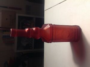 Decorative Red Glass Vintage Style Bottle for Wine or Oil