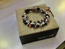 "NWT Uno de 50 Silver-plated Bracelet w/ Pink/Mauve/Black Crystal ""Flora"" $160"