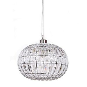 New Ivory & Deene Round Lily Pendant Chandelier Chrome Light Hanging Lamp