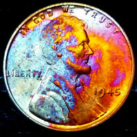"""1945 Lincoln Wheat Penny Cent- """"Beautifully Toned"""" VERY CHOICE++ GEM++ BU++ 02"""