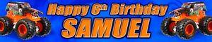 2 x Personalised Hot Wheels Monster Truck Birthday banner photo option