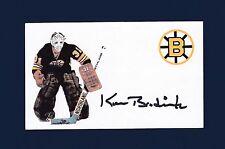 Ken Broderick signed Boston Bruins hockey index card 1942-2016