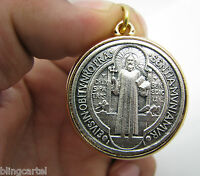 San Benito Medalla 35mm Saint Benedict Cross Silver/Gold Two Tone Medium Medal