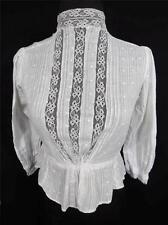 RARO Francés victoriano-eduardiano BLANCO BROCADO algodón y blusa encaje
