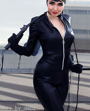 "Catsuit Costume Faux Leather / Faux PVC Cosplay zip up 29"" leg size 8-12 Quality"