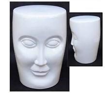 CERAMIC FACE STOOL GARDEN SEAT 46CM WHITE SIDE TABLE LAMP/PLANT STAND PORCELAIN