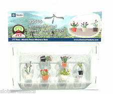 "JTT SCENERY 95566 ASSORTED POTTED FLOWER PLANTS 1  O SCALE  1"" HIGH   6/PK"