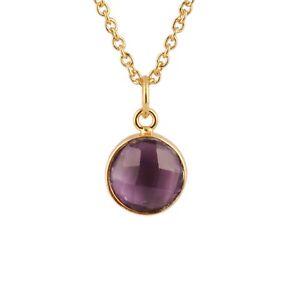Purple Amethyst Quartz Round Shape Yellow Gold Plated Pendant Chain Necklace