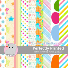 18 Patterned Paper Sq 140mm -Perfectly Printed Craft Paper - Colours of Rainbow