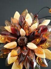 Handcrafted Artisan Amber flower bracelet,stretch beaded strap
